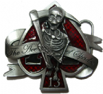 The Ace of Spades - Belt Buckle + display stand. Product Code: AO3